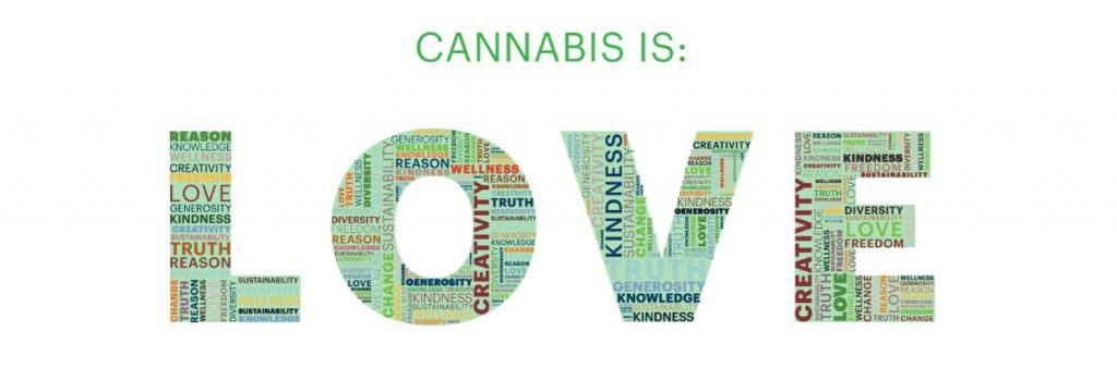 Text that reads: Cannabis is Love
