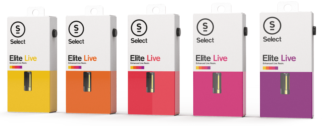 Row of Select Elite Live packaging